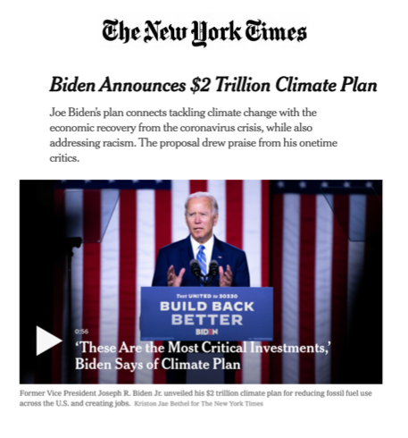 Green and Sustainable investing, Biden announces Climate Plan
